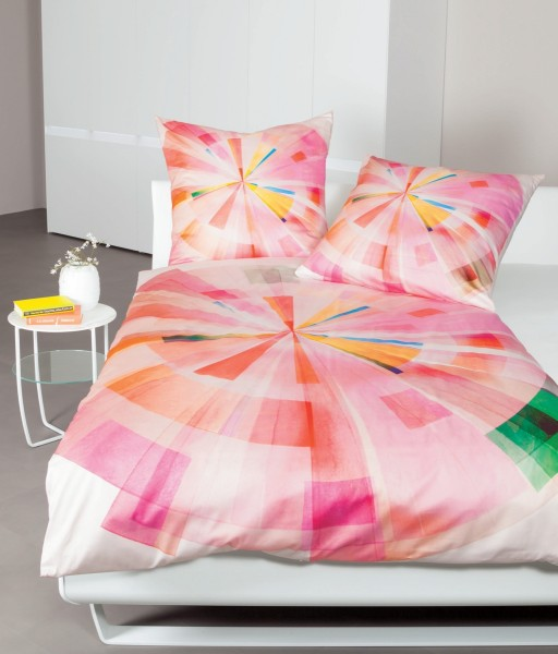 Mako-Satin-Bettwäsche modern art 42055 kameerosa multicolor