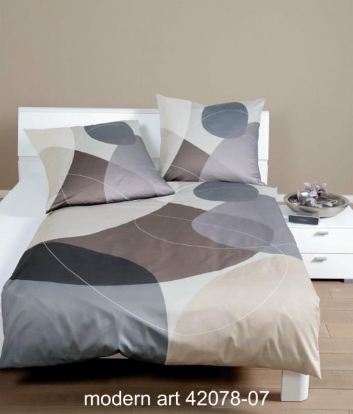 Janine Mako-Satin Bettwäsche modern art 42078 taupe opalgrau