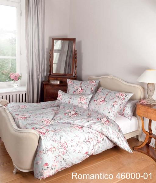 Janine Mako-Satin Bettwäsche ROMANTICO 46000 rosa silber
