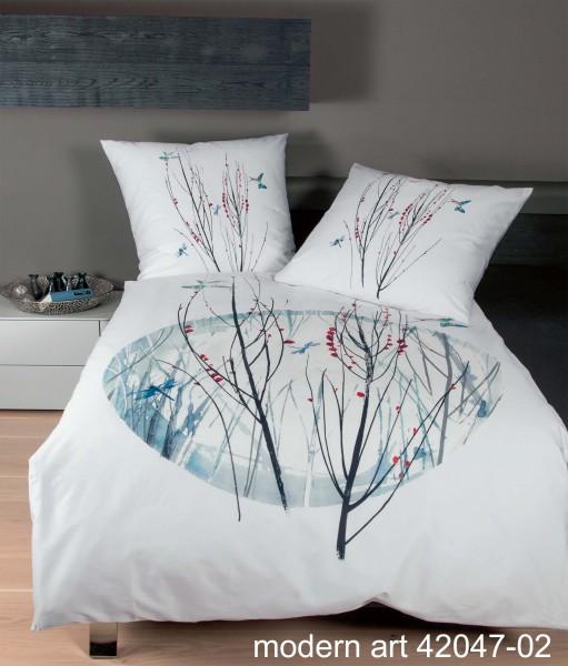 Mako-Satin Bettwäsche modern art 42047 eisblau