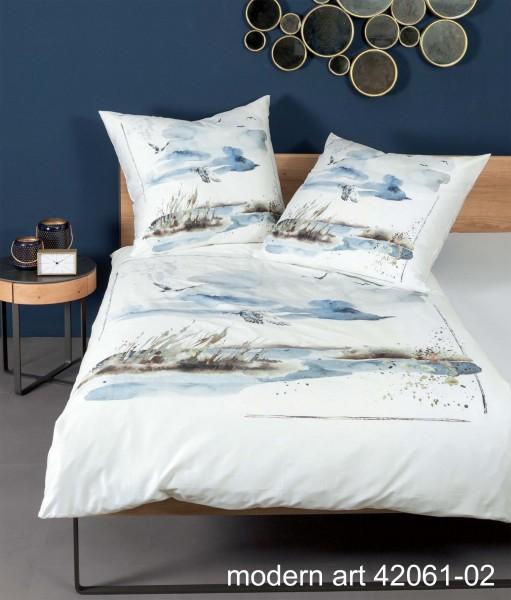 Janine Mako-Satin-Bettwäsche modern art 42061 seeblau