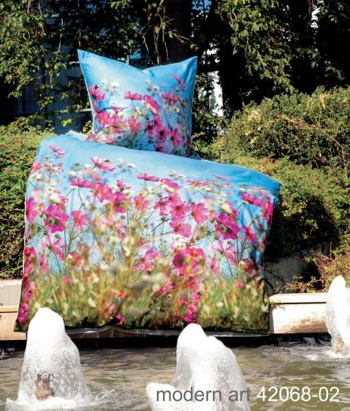 Janine Mako-Satin-Bettwäsche modern art 42068 himmelblau fuchsia