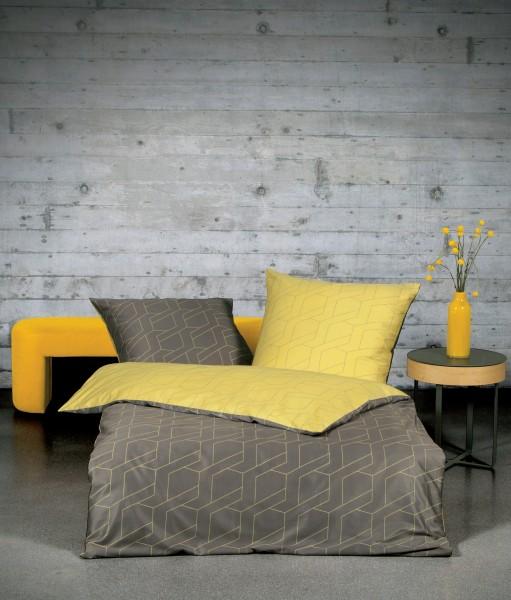 Janine Mako-Satin-Bettwäsche loft 95003 taupe ceylon gelb