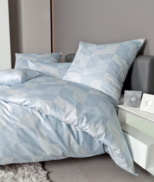 Janine Mako-Satin Bettwäsche MESSINA 43088 dampfblau