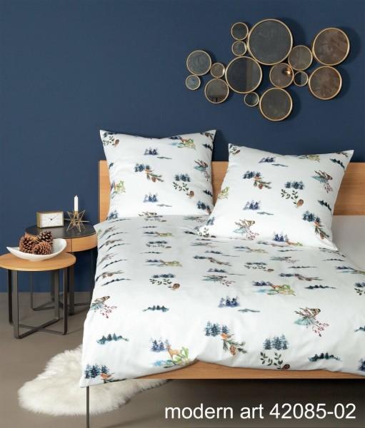 Janine Mako-Satin Bettwäsche modern art 42085 samtiges morgenblau