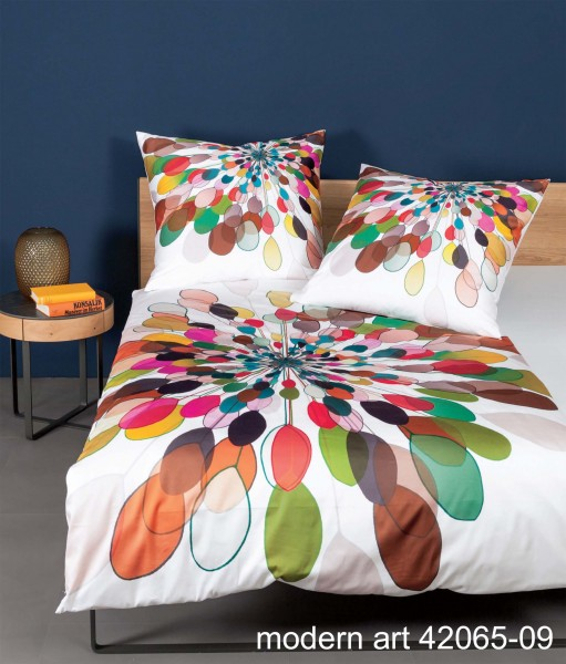 Janine Mako-Satin-Bettwäsche modern art 42065 multicolor