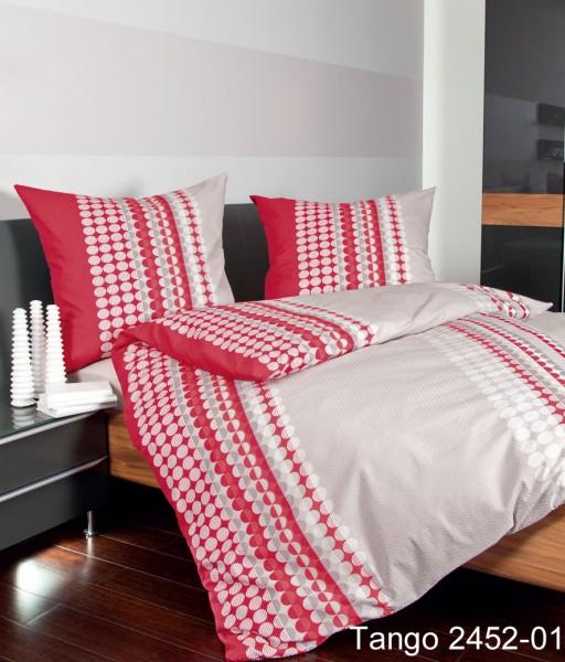 Janine Mako-Soft-Seersucker Bettwäsche TANGO 2452 / Bettwäsche für den Sommer rot-rosenholz