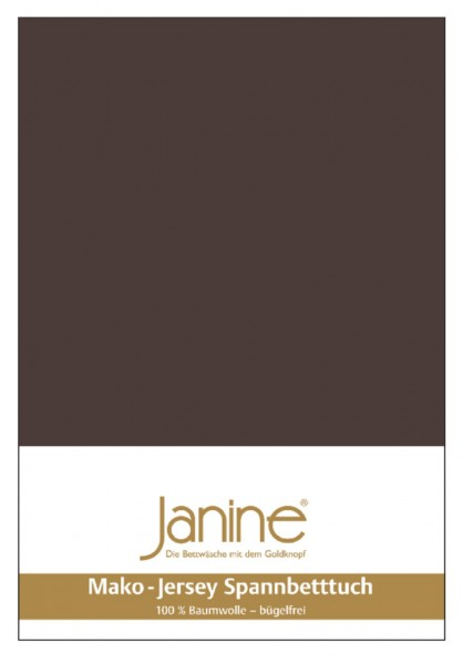 Janine Spannbetttuch Mako-Feinjersey 5007 dunkelbraun