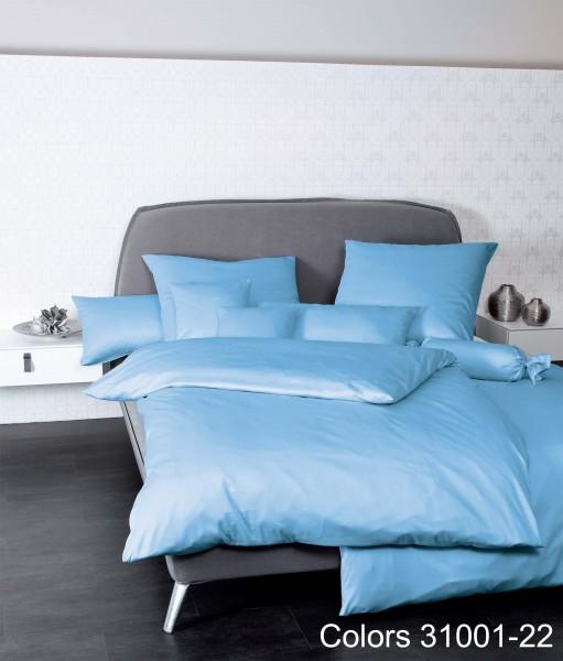Janine Mako-Satin Bettwäsche Colors 31001 hellblau