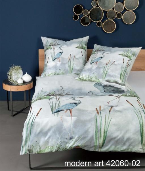 Janine Mako-Satin-Bettwäsche modern art 42060 seeblau schilf