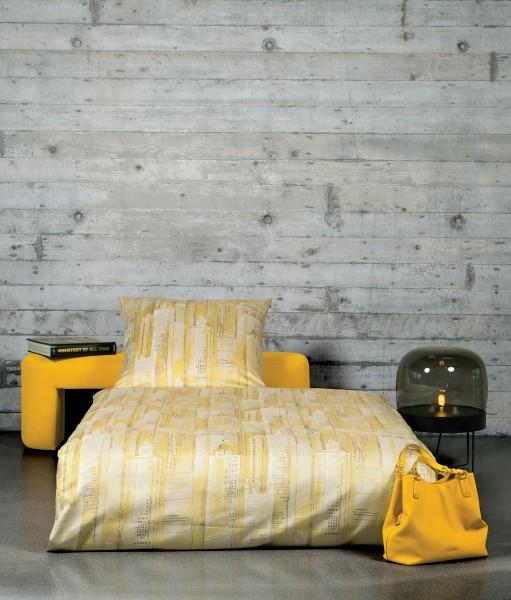 Janine Mako-Satin-Bettwäsche loft 95000 ceylon gelb taupe