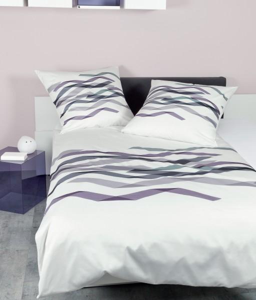 Janine Mako-Satin Bettwäsche modern art 42043 traube flieder silber