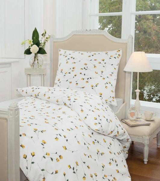Janine Mako-Soft-Seersucker Bettwäsche TANGO 2174 / Bettwäsche für den Sommer gelb