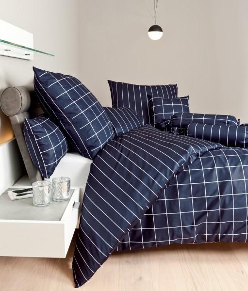 Janine Mako-Satin Bettwäsche modernclassic 39025 nachtschattenblau